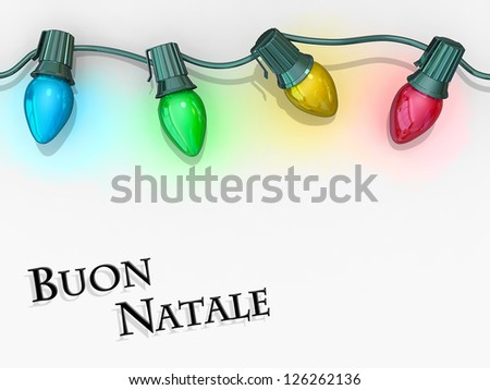 Christmas lights strong along the top of the image with Merry Christmas - Italian Language below. - stock photo