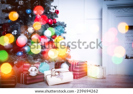 Christmas living room. Blue toned with bokeh - stock photo