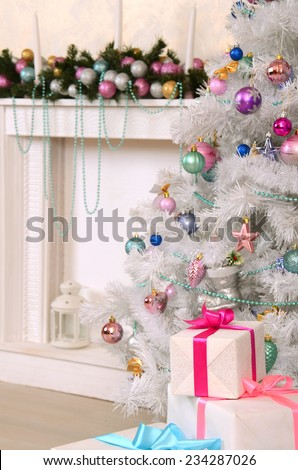 Christmas living room ddecoration - stock photo