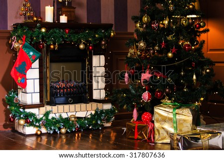 Christmas living room interior decoration, new year concept - stock photo