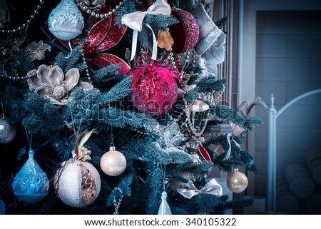 Christmas living room with Christmas Tree. blue tone - stock photo
