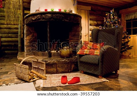 Christmas living room with fireplace and armchair