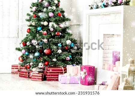 Christmas living room with star and snow - stock photo