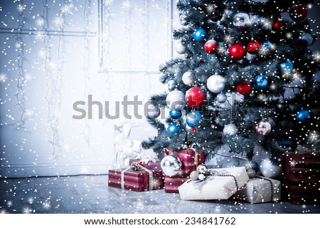 Christmas living room with stars and snow. Blue toned - stock photo