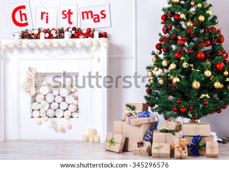 Christmas living room with Tree - stock photo