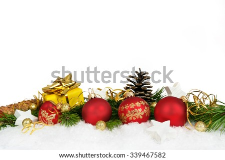 Christmas lower decoration with balls, stars, cones and gift on white background. - stock photo
