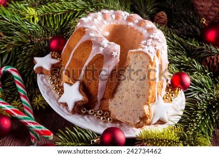 christmas madeira cake - stock photo