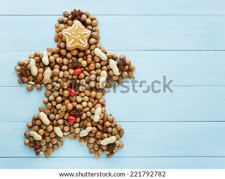 Christmas man made of nuts, berries and anise. Viewed from above. - stock photo