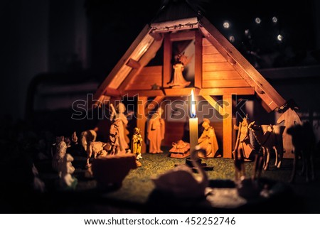 Christmas Manger scene and figurines