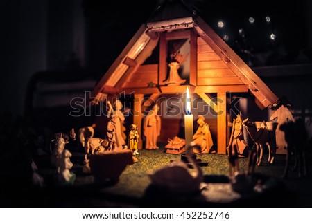 Christmas Manger scene and figurines - stock photo