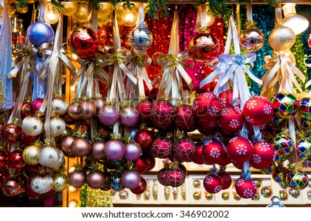 Christmas market.  Christmas decoration .  Colorful Christmas decorations