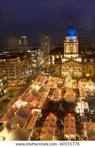 christmas market in berlin at night - stock photo