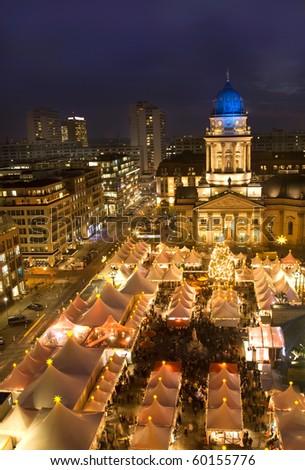 christmas market in berlin at night - stock photo
