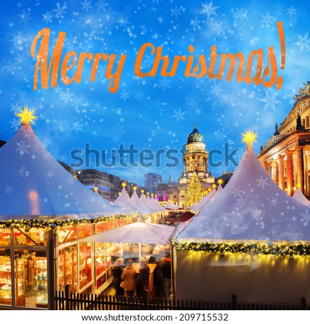 Christmas market in Berlin, square composition, caption - stock photo