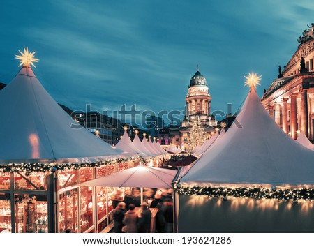 Christmas market in Berlin, square composition, toned image - stock photo