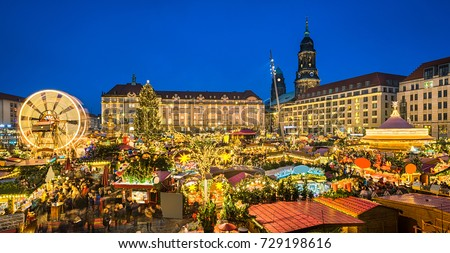 Christmas market in Dresden, Germany at night