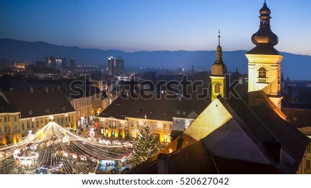 Christmas market in Sibiu main square, Transylvania, Romania
