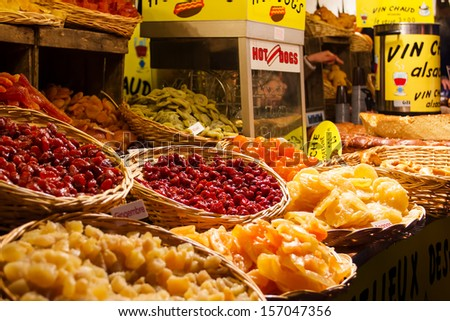 Christmas market on the Boulevard Montmartre in Paris - stock photo