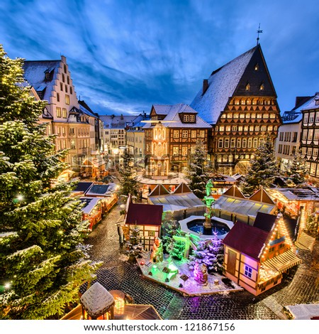 Christmas Market on the historic market place in Hildesheim, Germany - stock photo
