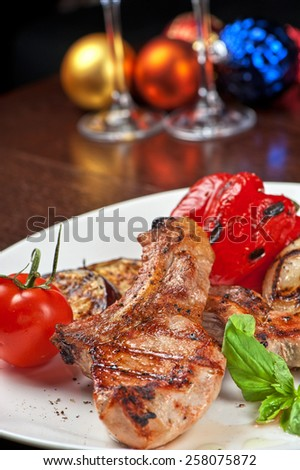Christmas meat with vegetable for Holiday dinner - stock photo