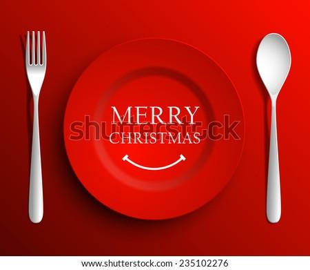 Christmas menu plate  - stock photo