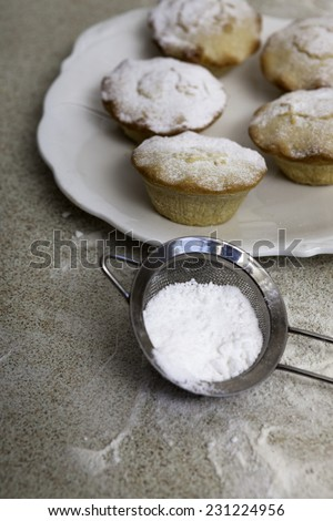 Christmas mince pies with the sieve of icing sugar - stock photo