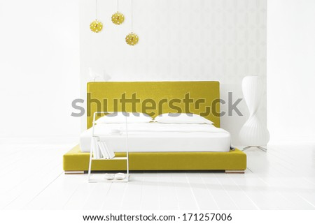 Christmas minimal decoration in bedroom  - stock photo