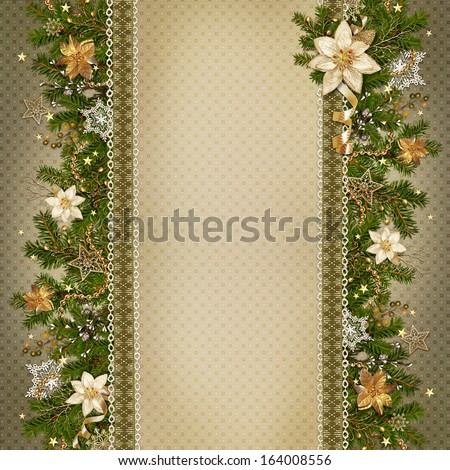 Christmas miraculous garland on vintage background - stock photo