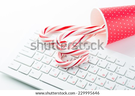 Christmas mood on the office table - stock photo