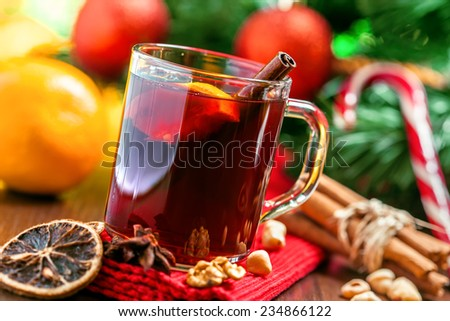Christmas mulled wine, winter drink - stock photo