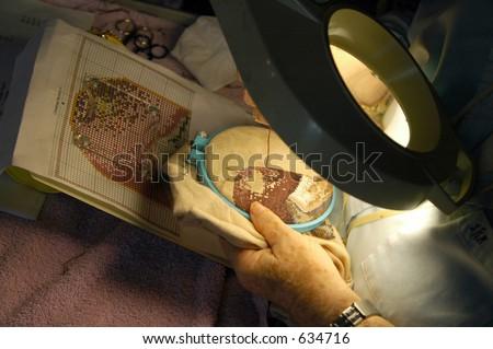 Christmas mystery II, needlepoint - stock photo