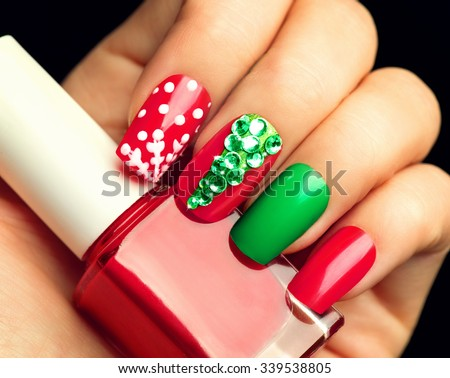 Christmas Nail Art Manicure Winter Holiday Stock Photo Edit Now 339538805 Shutterstock