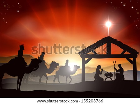 Christmas nativity scene with baby Jesus in the manger in silhouette, three wise men or kings and star of Bethlehem - stock photo