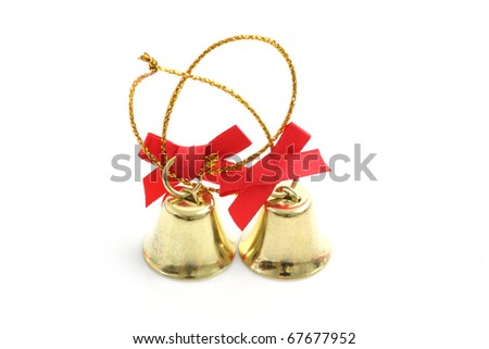 christmas new year bell : the bell newyear and christmas isolated on the white background