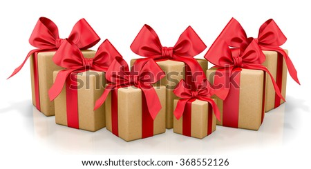 christmas, new year, birthday for  yellow gift box and  red bow 3d render - stock photo