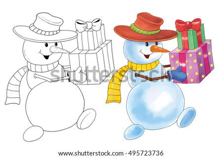 Christmas. New Year. Christmas greeting card. Illustration for children. Funny cartoon characters.