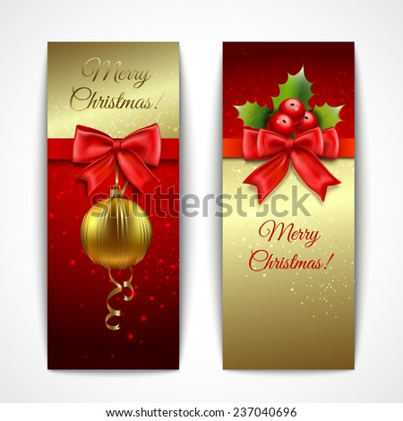 Christmas new year holiday decoration vertical banners set isolated  illustration