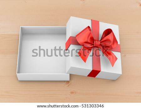 Christmas, New Year's Day ,Open red gift box top view on table background 3d rendering