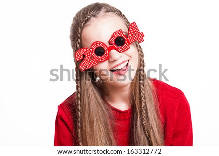 christmas, new year, winter concept - Smiling happy girl on white background. - stock photo