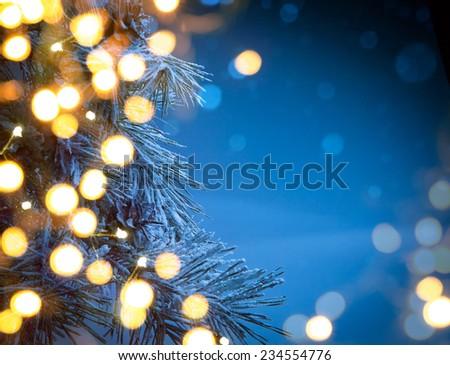 Christmas night background - stock photo