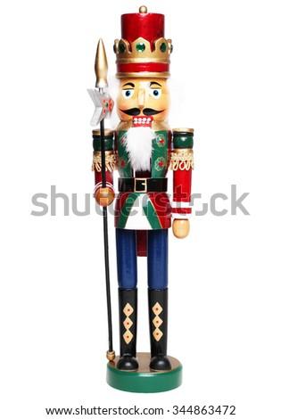 Christmas nutcracker king isolated on white background - stock photo