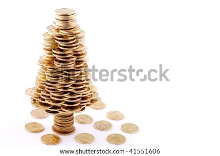 Christmas offer, quick golden credit for Christmas shopping - stock photo