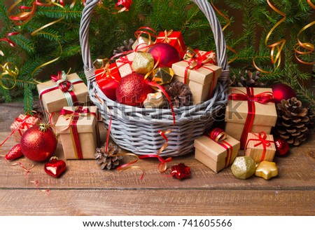 Gift basket stock images royalty free images vectors shutterstock christmas or new year background basket with colored glass toys and balls decoration and negle Image collections
