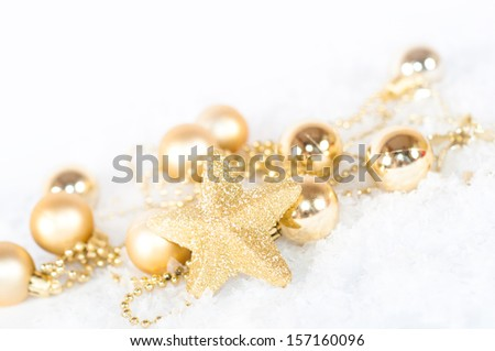 Christmas or New Year holiday decoration with Christmas balls, ornaments, baubles and stars - stock photo