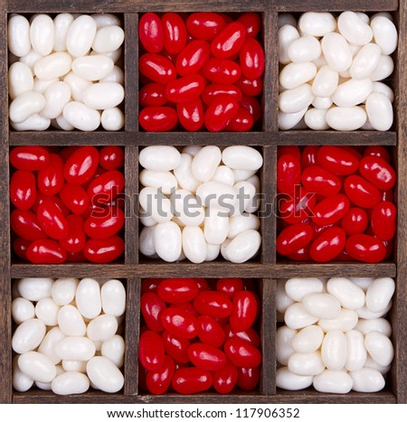 Christmas or valentine jelly bean candies in a printers box - stock photo