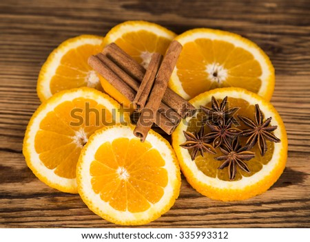 Christmas, oranges and cinnamon with anise,