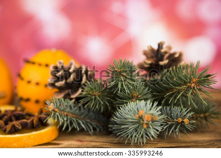 Christmas, oranges and cinnamon with anise, pine cones