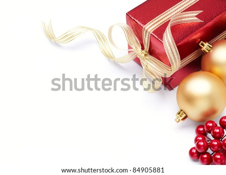 christmas ornament and gift with copy space - stock photo