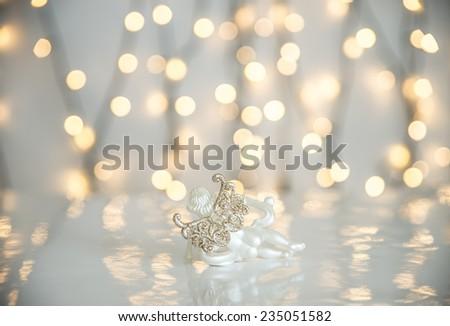 Christmas ornament and lights.  - stock photo