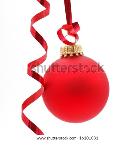Christmas ornament and ribbon on white background